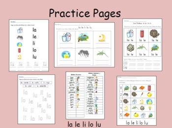 Spanish Syllables - la le li lo lu - Practice pages
