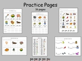 Spanish Syllables - pa pe pi po pu, practice pages