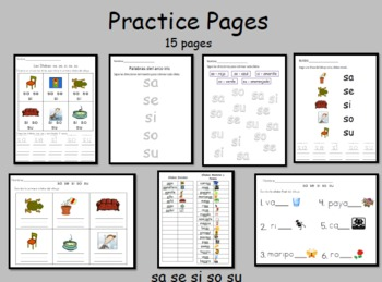Spanish Syllables - sa, se, si so, su, practice pages