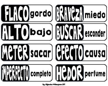 Spanish Synonyms and Antonyms BIngo/Bingo de sinónimos y antónimos