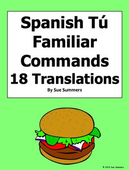 Spanish Tú Informal Commands Sentence Translations with Adverbs