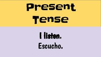 Spanish TENSES mini posters with ESCUCHAR
