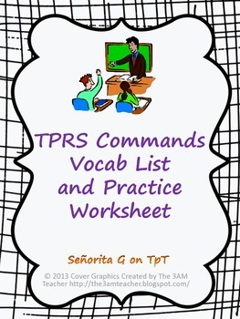 Spanish TPRS Commands Vocab and Practice Worksheet