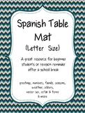 Spanish Table Mat- Letter