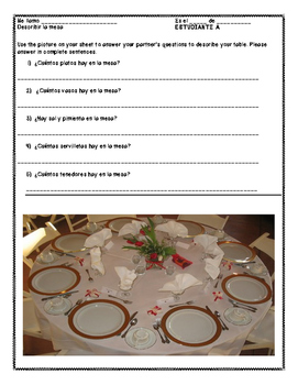 Spanish Table Setting Vocabulary Partner Work (Realidades ch. 5B)