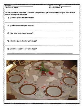 Spanish Table Setting Vocabulary Partner Work (Realidades ch. 5B)