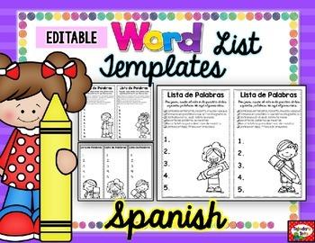 Spanish Take-Home Word List Templates: EDITABLE