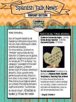 Spanish Talk Newsletter February 2018 Edition Cadalina's Creative Casa +Freebies