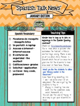Spanish Talk Newsletter January Edition Cadalina's Creative Casa with Freebies