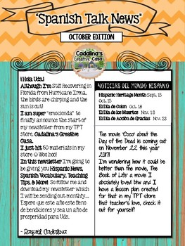 Spanish Talk Newsletter October Edition Cadalina's Creative Casa with Freebie