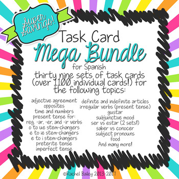 Spanish Task Card Bundle - 39 sets