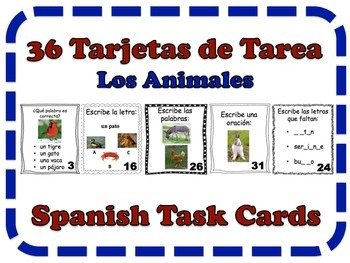 Spanish Animals Task Cards, Vocabulary