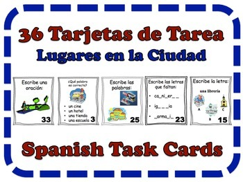 Spanish City Place, Locations Task Cards, Vocabulary