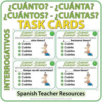 Spanish Task Cards: Cuánto, Cuántos, Cuánta, Cuántas