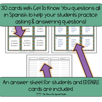 Spanish Task Cards Get To Know You Interview Questions! 30 cards! Editable!