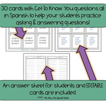 Spanish Task Cards Get To Know You Interview Questions! 30 cards! INK FRIENDLY!