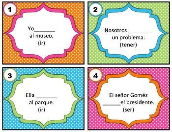 Spanish Task Cards Irregular Verbs - For BOTH Present and Preterite / pretérito