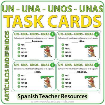 Spanish Task Cards Los Artículos Indefinidos By Woodward Education
