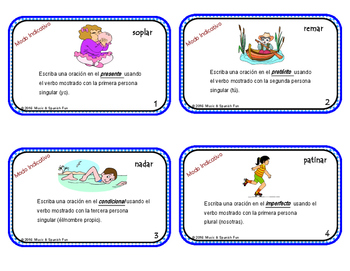 Spanish Task Cards-Oraciones de Tiempos Verbales