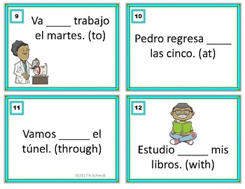 Spanish Task Cards Prepositions - Las preposiciones