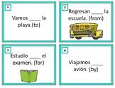 Spanish Prepositions Task Cards: Las preposiciones (a, de, por, para, en, con)