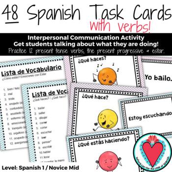 Spanish Task Cards - Present Tense Verbs, Present Progressive, Emotions