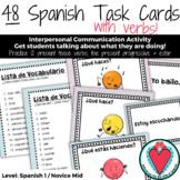 Spanish Verbs Task Cards - Present Tense Verbs, Present Progressive, Emotions