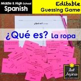Spanish Task Cards - ¿Qué es? La ropa - Clothing Vocabulary Game