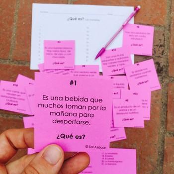 Spanish Task Cards - ¿Qué es? Las Comidas - Food Vocabulary Game