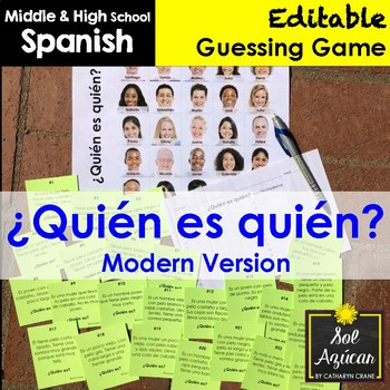 Spanish Guess Who - Modern Version - Task Card Game