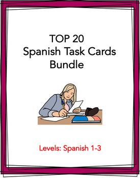 Spanish Task Cards BIG Bundle: 20 Sets at 50% off!! (Various Tenses)