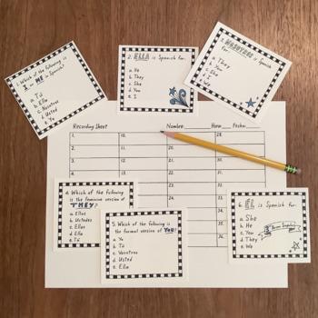Spanish Task Cards - Subject Pronouns ~Spanish personal pronoun NO PREP