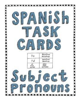 Spanish Task Cards - Subject Pronouns ~Spanish personal pr
