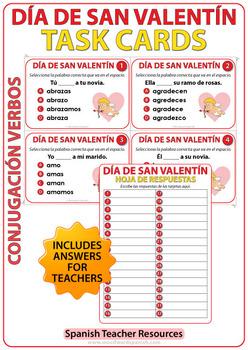 Spanish Task Cards - Valentine's Day VERB Conjugation