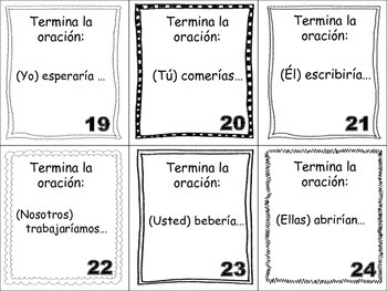 Spanish Conditional (Regular Verbs) Task Cards