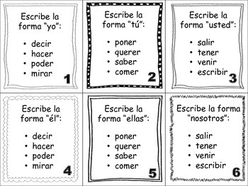 Spanish Conditional (Regular & Irregular Verbs) Task Cards
