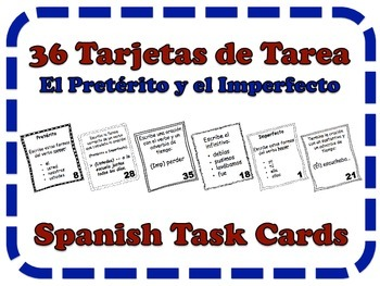 Spanish Imperfect, Preterite, & Adverbs Task Cards, Verbs