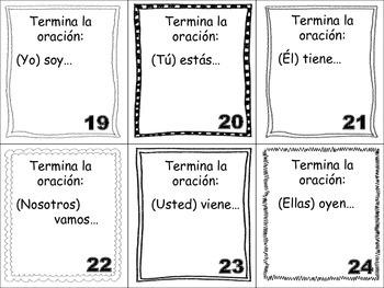 Spanish Irregular Verbs Task Cards