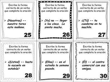 Spanish Preterite (Irregular Verbs) Task Cards