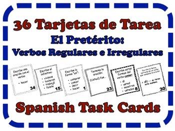 Spanish Preterite (Regular & Irregular Verbs) Task Cards