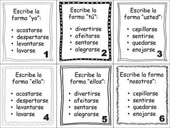 Spanish Reflexive Verbs Task Cards
