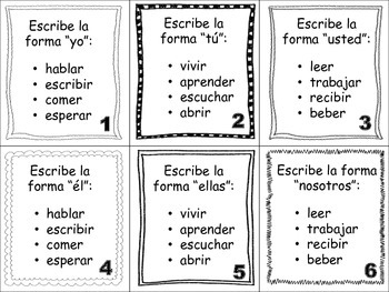 Spanish Regular Verbs (AR, ER, IR) Task Cards