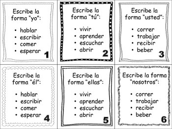 Spanish Preterite (Regular Verbs) Task Cards