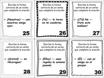 Spanish Preterite (Regular Verbs) Task Cards