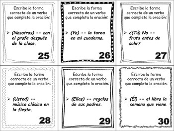 Spanish Simple Future (Regular Verbs) Task Cards