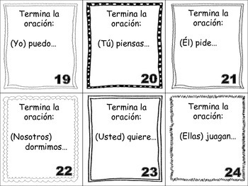 Spanish Stem-Changing Verbs Task Cards