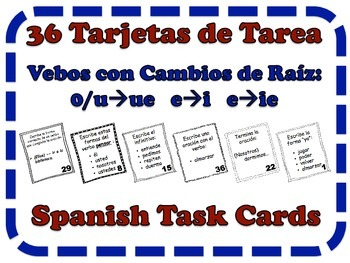 Spanish Stem-Changing Verbs Task Cards