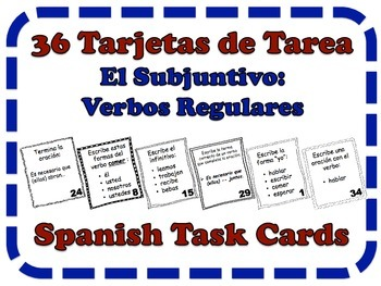 Spanish Subjunctive (Regular Verbs) Task Cards