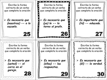 Spanish Subjunctive (Irregular Verbs) Task Cards