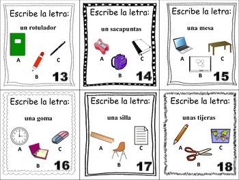 Spanish Classroom Objects Task Cards, Vocabulary